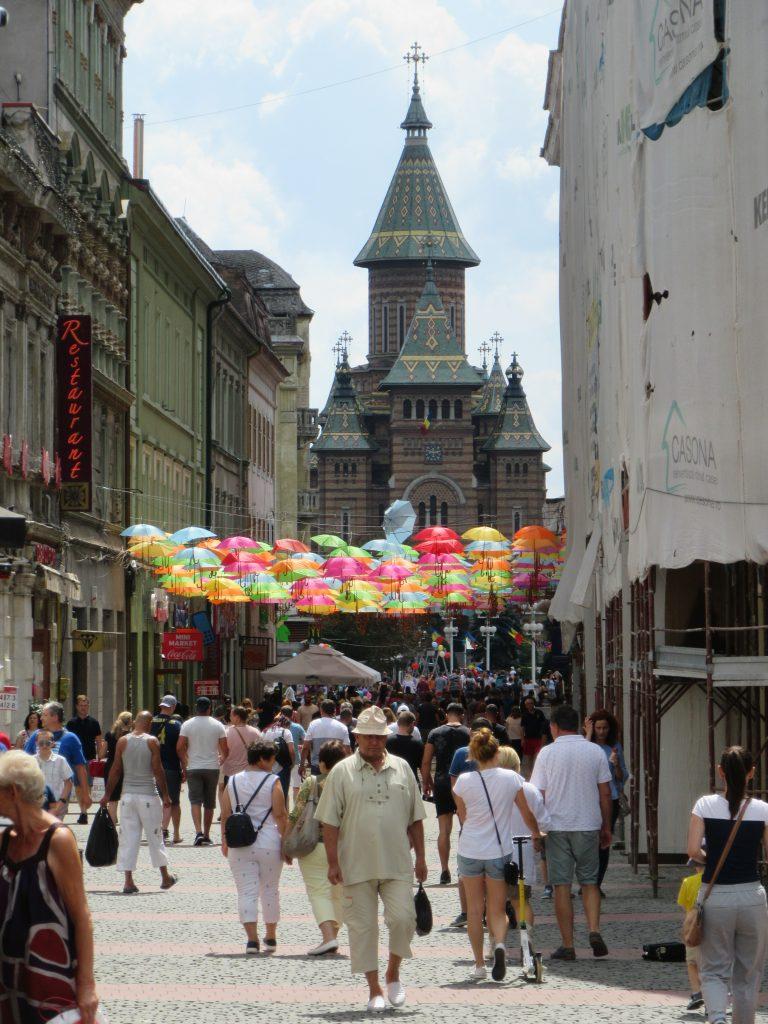 Umbrella street at Timisoara Center, Romania