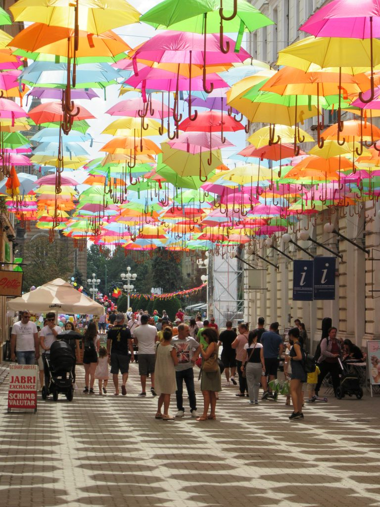 Umbrella street at Timisoara Center, Road Trip to Romania
