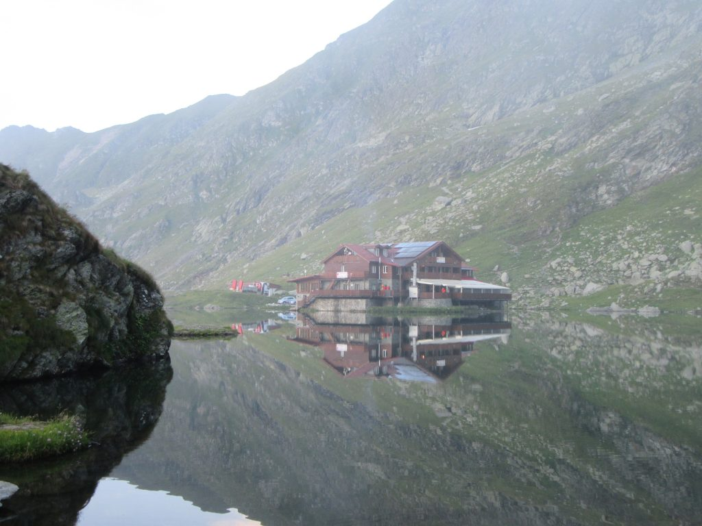Balea Lake and Reflection of Mountain Hut