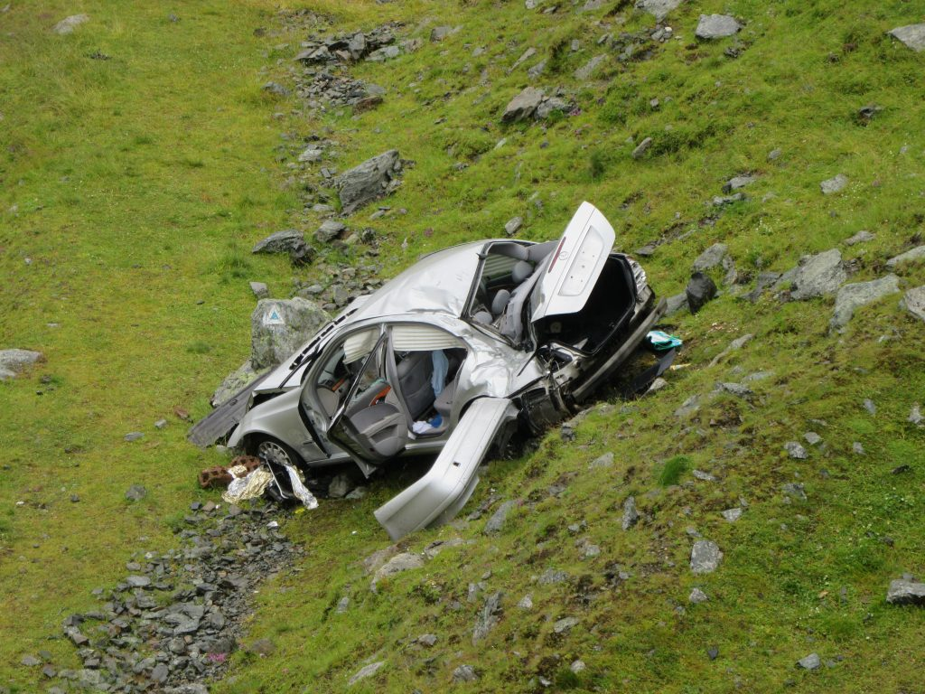 Car Crash in Epic Transfagarasan Scenic Road in Romania