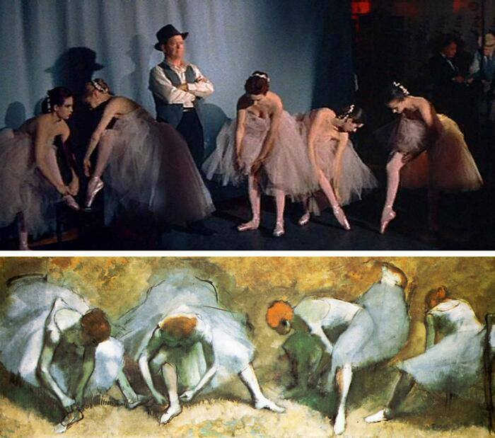 A star is born, George Cukor (1955) Pause during the dance lesson, Edgar Degas (1883)