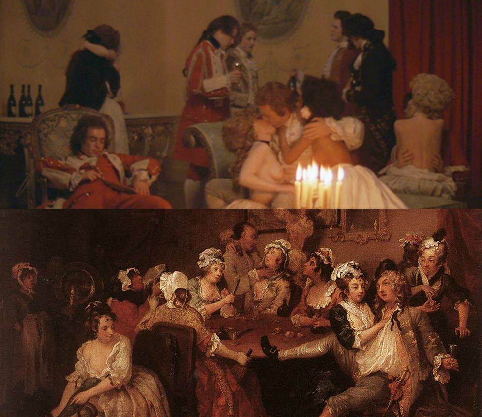 Barry Lyndon by Stanley Kubrick (1975), The Orgy by William Hogarth (1735)