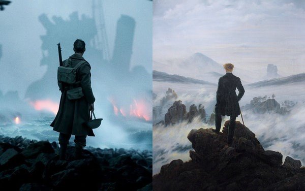 Dunkirk by Christopher Nolan (2017), The Walker Over The Sea of Clouds by Caspar David Friedrich (1818)