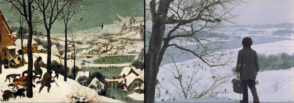 Hunters in the Snow by Bruegel the Old (1565), The Mirror by Andrei Tarkovsky (1975)