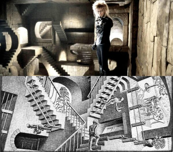 Inside The Labyrinth by Jim Henson (1986), Relativity by MC Escher (1953)
