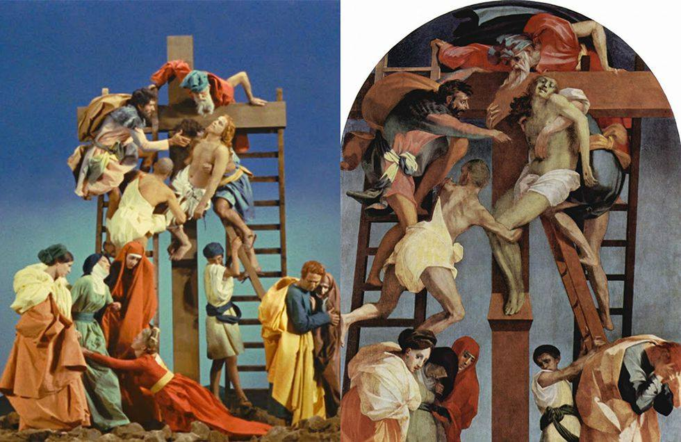 La Ricotta by Pier Paolo Pasolini (1963), Descent of Christ by Rosso Fiorentino (1521)