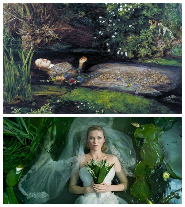 Ofelia by John Everett Millais (1851), Melancholia by Lars von Trier (2011)