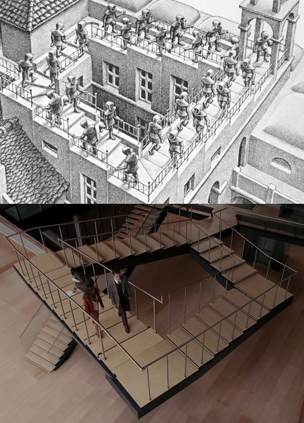 Stairs Up, stairs down by M.C. Escher (1960), Inception by Christopher Nolan (2010)