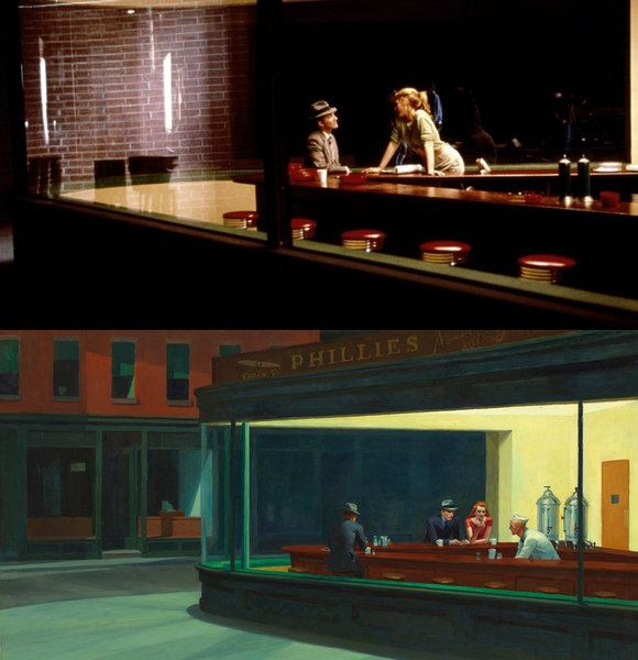The End of Violence by Wim Wenders(1997), Nighthawks by Edward Hopper(1942)