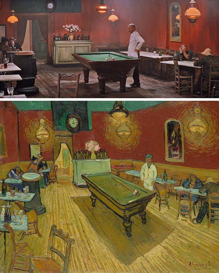 The Madman of red hair, Vincente Minnelli (1956) Night Coffee, Vincent Van Gogh (1888)