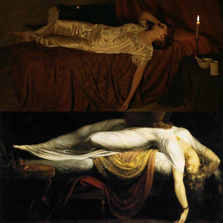 The Marquise of O by Éric Rohmer (1976), The Nightmare by Johann Heinrich Füssli (1781)