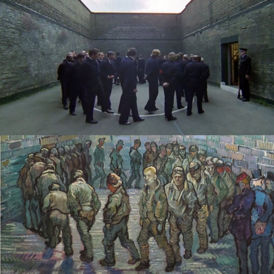 The Mechanical Orange, Stanley Kubrick (1971) Round of prisoners, Vincent Van Gogh (1890)