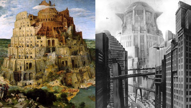 The Tower of Babel by Pieter Bruegel, Metropolis by Fritz Lang 1927