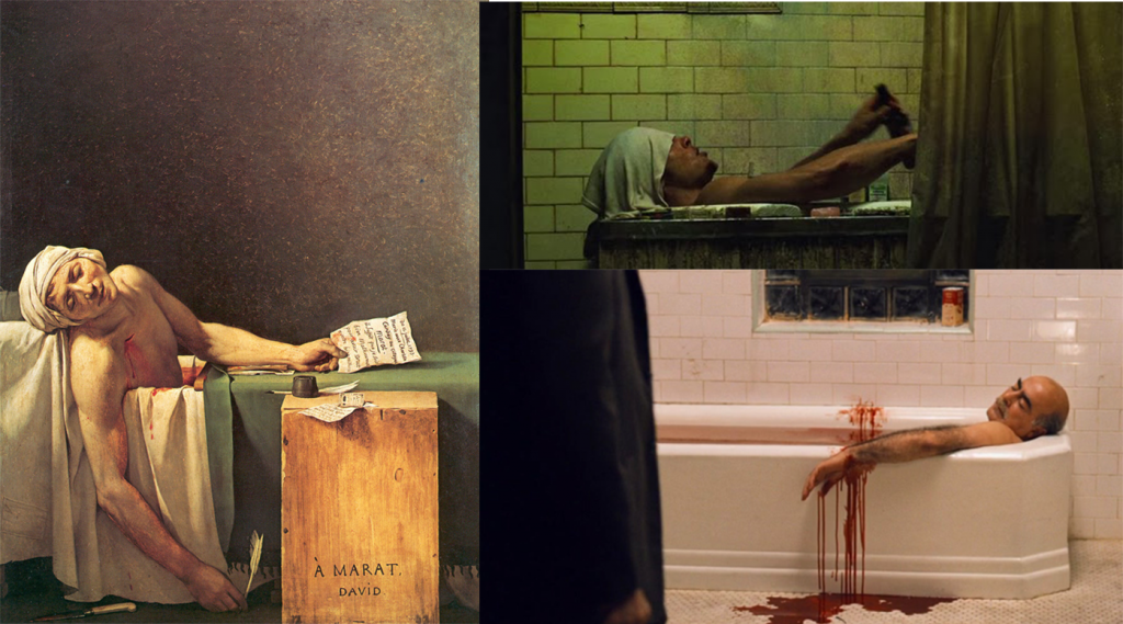 The death of Marat by Jacques-Louis David(1793), The Fight Club by David Fincher(1999), The Godfather by F.F.Coppola(1974)