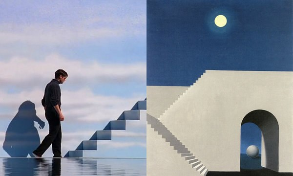 Truman Show by Peter Weir (1998), Architecture in the Moonlight by René Magritte (1956)