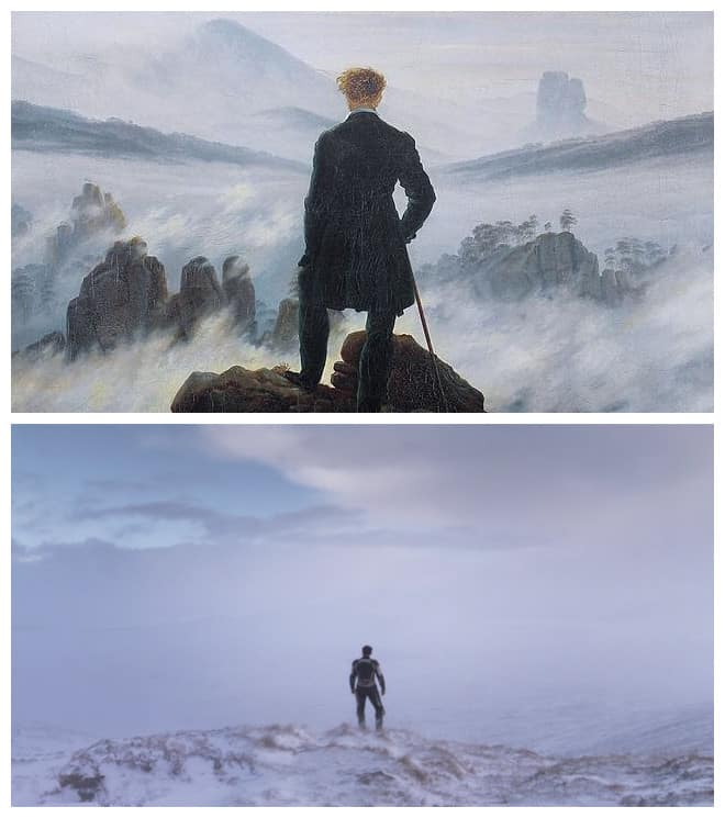 Wanderer Above The Sea Of Fog by Casper David Friedrich (1818), Under The Skin by Jonathan Glazer (2013)