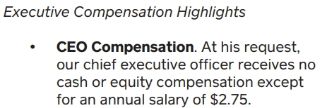 CEO compensation at Square is at 2.75 dollars
