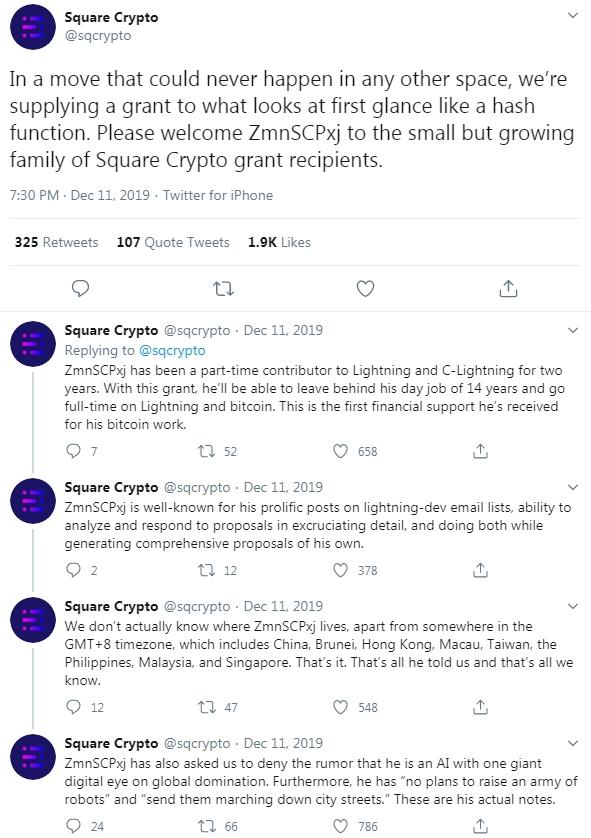 Square crypto grant