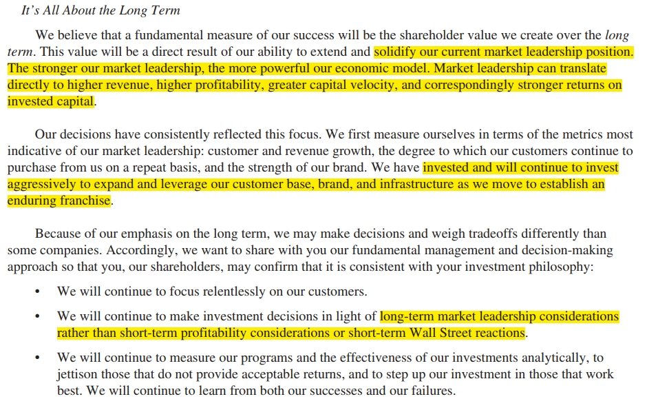 Bezos 2012 shareholder letter on long term interests and market leadership
