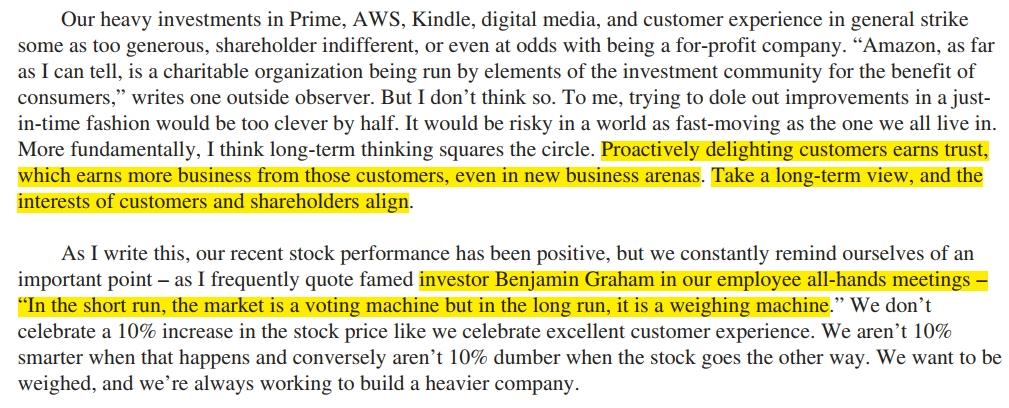 Bezos 2012 shareholder letter quoting Benjamin Graham