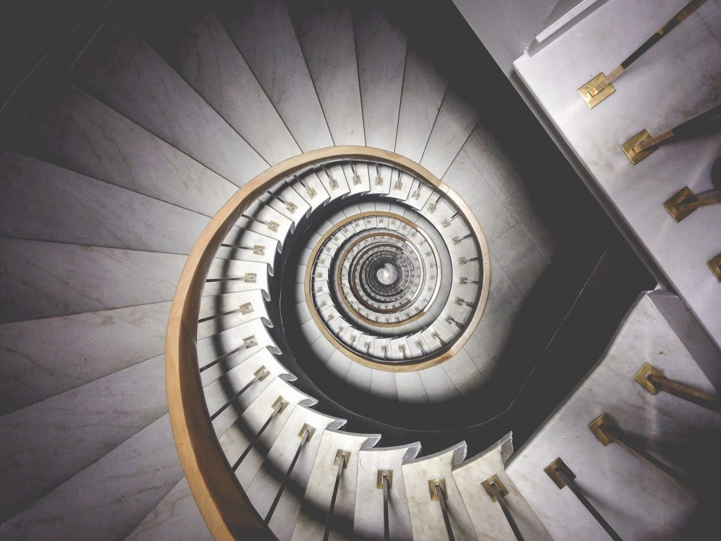 downward spiral staircase alcoholism alcohol