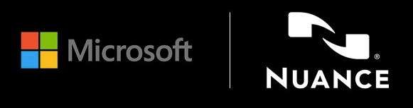 Microsoft Nuance Communications logos in black background